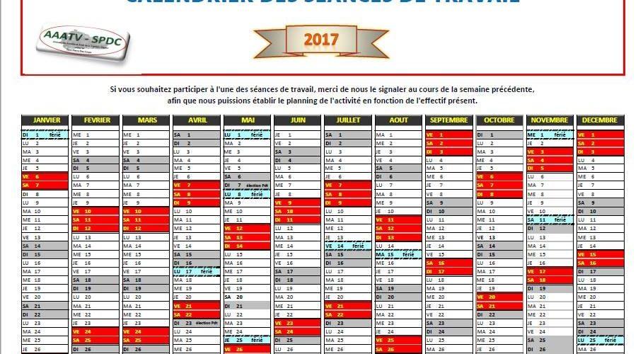 Calendrier De Travail.Calendrier Des Seances De Travail Pour 2017 Aaatv Spdc